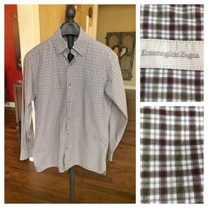 Men's Ermenegildo Zegna plaid button up sz M shirt